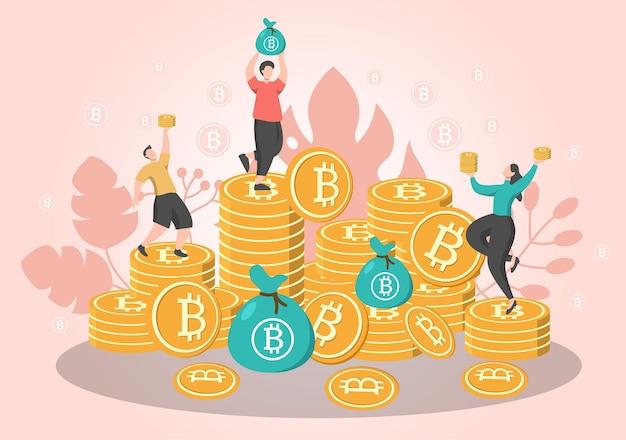 Иллюстрация майнинга криптовалюты биткойн в плоском стиле