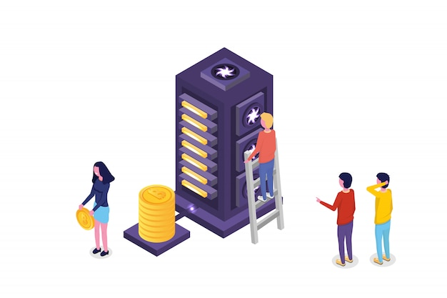 Mining bitcoin farm  ultraviolet isometric  concept. vector illustration.