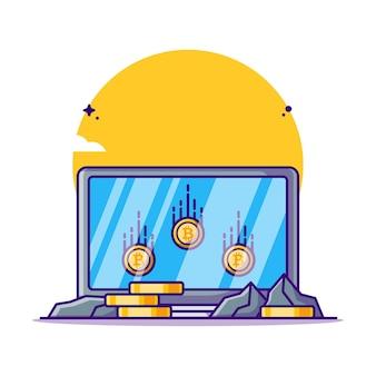 ノートパソコンの漫画イラストでビットコインをマイニング