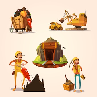 Mining concept set with retro cartoon style labor workers cartoon style