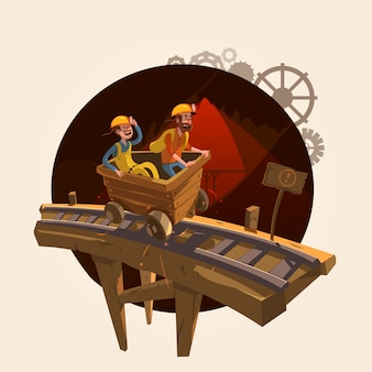 Mining concept with workers riding a coal trolley retro cartoon style