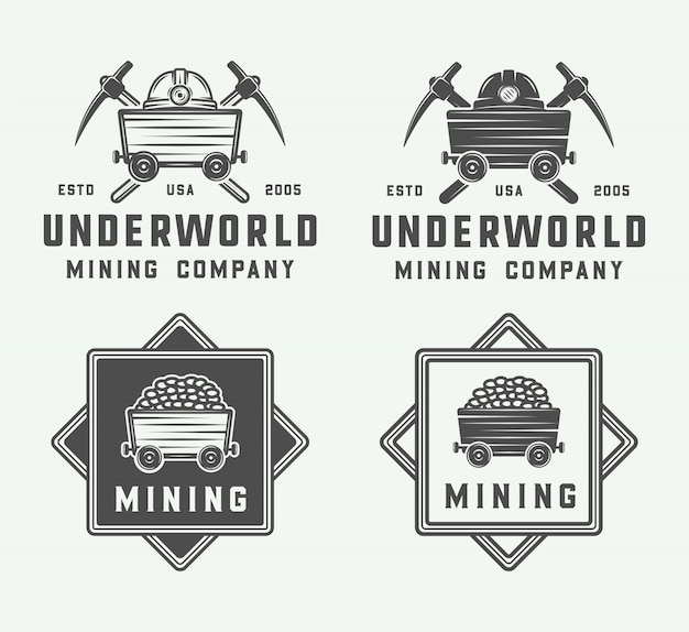 Mining or construction logo set