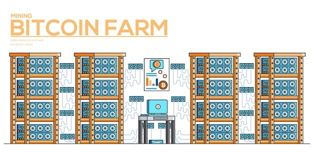 Горизонтальный баннер майнинга криптовалюты. рынок цифровых денег. иллюстрация биткойн-фермы.