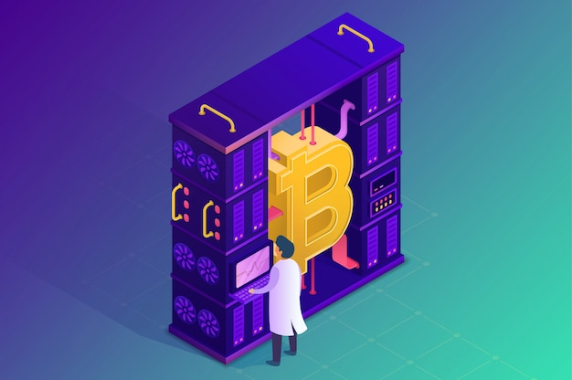 Mining crypto currency. isometric illustration.