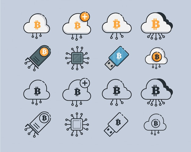 Mining cryptocurrency icons. modern computer network technology sign set