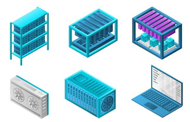Mining farm bitcoin icons set, isometric style
