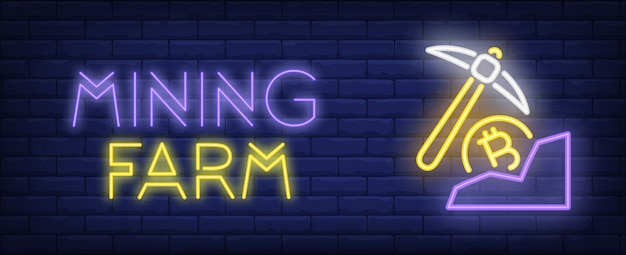 Mining farm illustration in neon style. text, pick and bitcoin on brick wall background