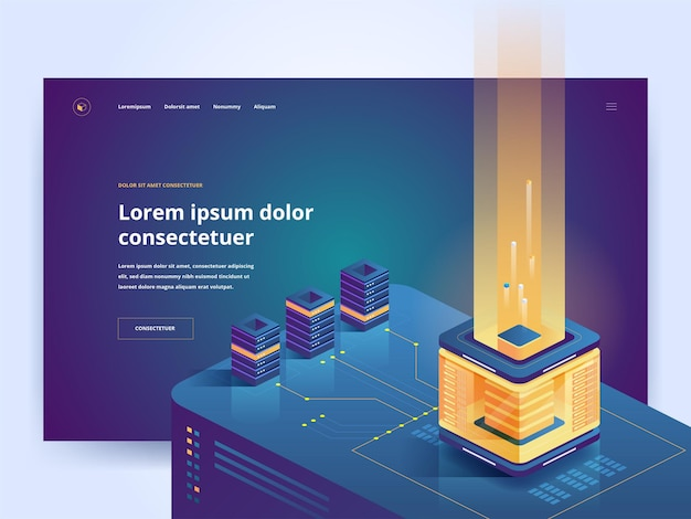 Mining farm landing page template cryptocurrency isometric illustrations. blockchain technology