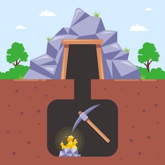 地下の鉱山で金を採掘する。平らなイラスト。