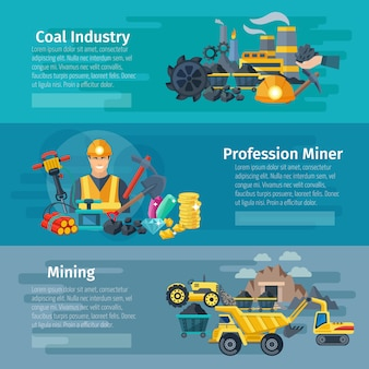 Mining horizontal banner set with coal industry flat elements