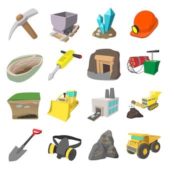 Mining icons cartoon set with miner hammer truck bulldozer