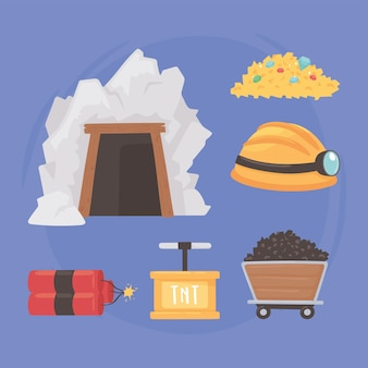Mining icons set