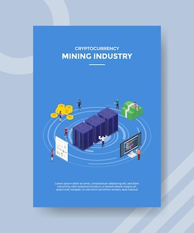 Mining industry cryptocurrency concept for template banner and flyer with isometric style vector