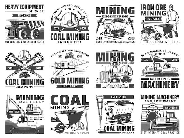 鉱業業界の機器、機械、マイナーツールアイコン。鉱山労働者、ヘルメット、つるはしとハンマー、鉄、石炭、金鉱山の掘削機、ダンプトラックとダイナマイト、ブルドーザー、カートのシンボル