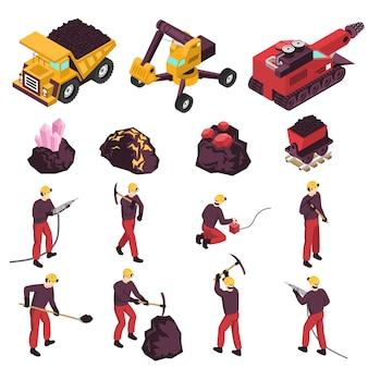 Mining industry isometric elements set