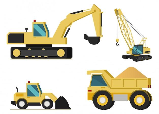 Mining industry machines vector set