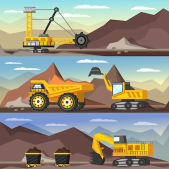 Mining industry orthogonal illustrationsset