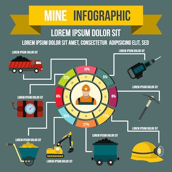 Mining infographic in flat style for any design