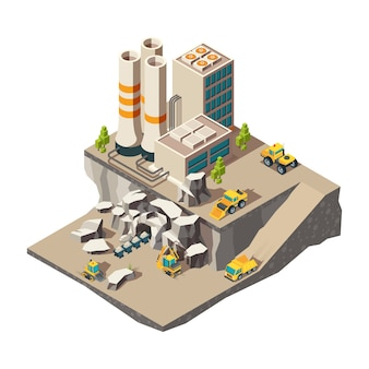 Mining isometric. rock mine industry production quarry construction technics composition