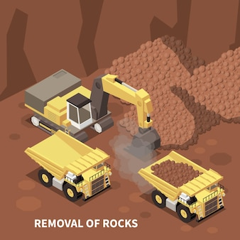 Mining machinery with excavator and two dump trucks removing rocks illustration
