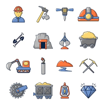 Mining minerals business icons set