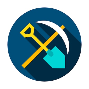 Mining tools circle icon. vector illustration flat style with long shadow.