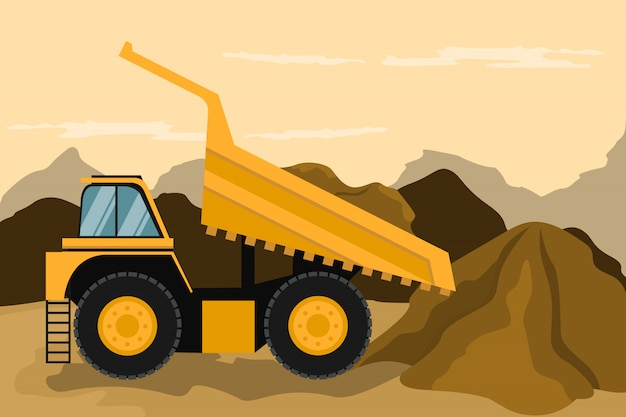 Mining truck doing construction and mining. heavy machinery.
