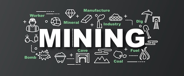 Mining vector trendy banner