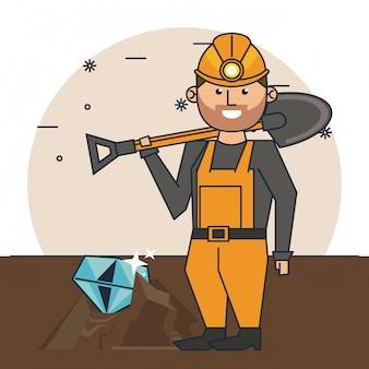 Mining worker cartoon