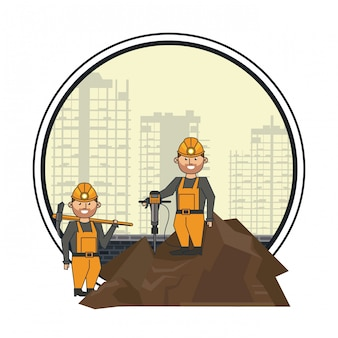 Mining workers with drill and pick