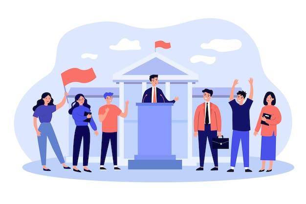 국회 청사에서 청중 앞에서 연설하는 장관. 정치인 또는 선거 후보를지지하는 사람들의 군중