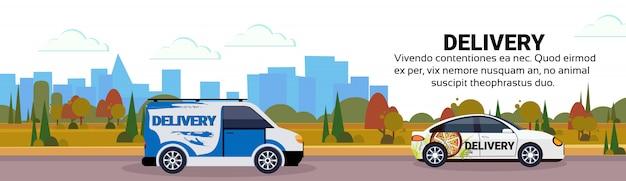 Minivan car delivery transport city transportation shipping industrial highway concept