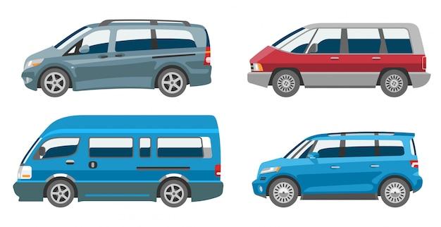 Микроавтобус фургон авто автомобиль семейный микроавтобус автомобиль и автомобиль баннер изолированные городской автомобиль на белом фоне иллюстрации
