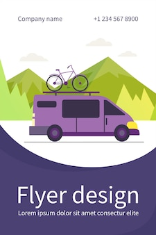 Minivan with bike on top moving in mountain. vehicle, transport, bicycle trip flat flyer template