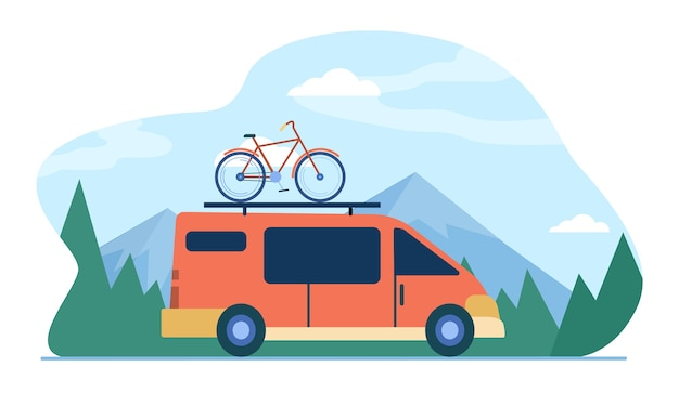 Minivan with bike on top moving in mountain. vehicle, transport, bicycle trip flat illustration.