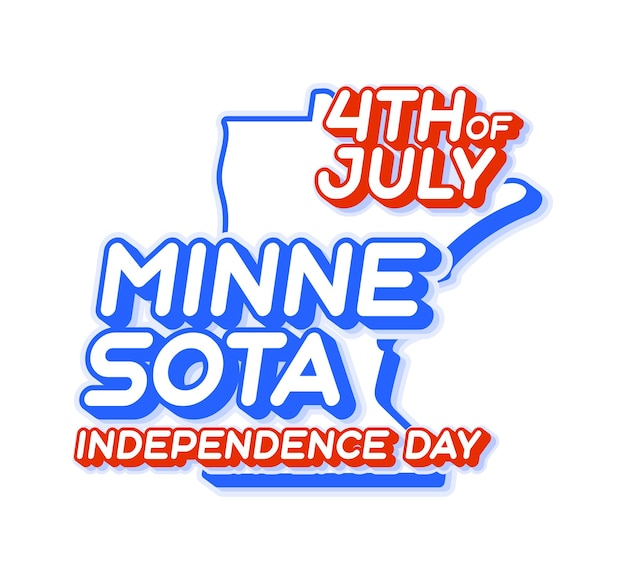 Minnesota state 4th of july independence day with map and usa national color 3d shape of us