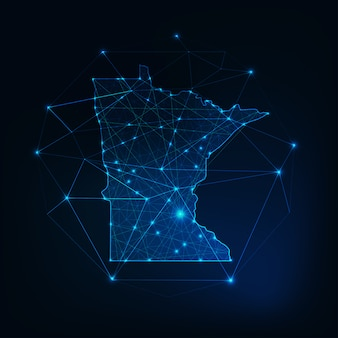 Minnesota state usa map glowing silhouette outline made of low polygonal shapes.