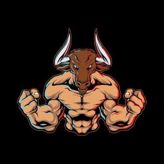 Minotaur halfbody logo artwork illustration