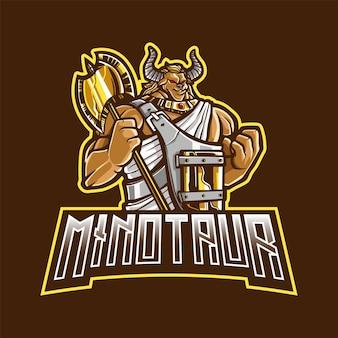 Eスポーツとスポーツのためのミノタウロスマスコットのロゴ