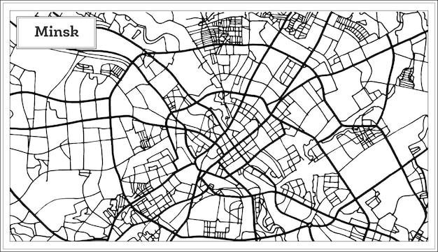 黒と白の色でミンスクベラルーシの都市地図。ベクトルイラスト。白地図。