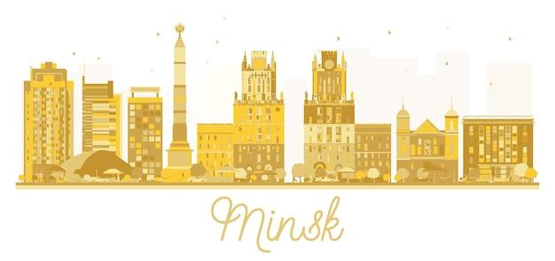 ミンスクベラルーシ市のスカイラインの黄金のシルエット。ベクトルイラスト。出張の概念。ランドマークのあるミンスクの街並み。