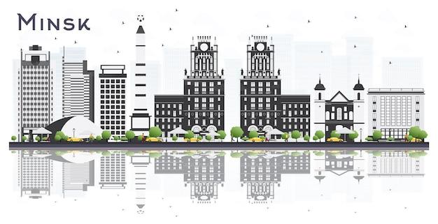 灰色の建物と白い背景で隔離の反射とミンスクベラルーシ市のスカイライン。ベクトルイラスト。出張と観光の概念。ランドマークのあるミンスクの街並み。
