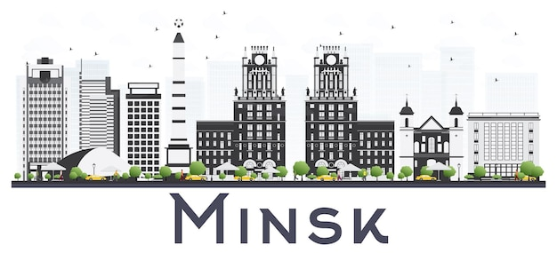 白い背景で隔離の灰色の建物とミンスクベラルーシ市のスカイライン。ベクトルイラスト。出張と観光の概念。ランドマークのあるミンスクの街並み。