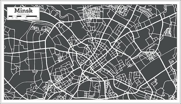 レトロなスタイルのミンスクベラルーシの地図。ベクトルイラスト。白地図。