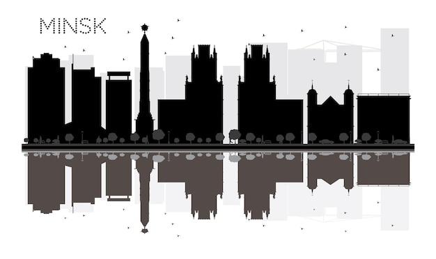 ミンスク市のスカイラインの黒と白のシルエットと反射。ベクトルイラスト。観光プレゼンテーション、バナー、プラカードまたはwebサイトのシンプルなフラットコンセプト。ランドマークのある街並み。