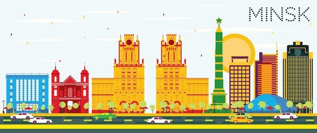色の建物と青い空とミンスクのスカイライン。ベクトルイラスト。出張と観光の概念。プレゼンテーションバナープラカードとwebサイトの画像。