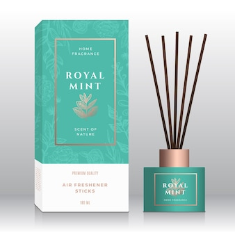 Mint branch home fragrance sticks abstract  label box template. hand drawn sketch flowers, leaves background. retro typography. room perfume packaging design layout. realistic mockup.