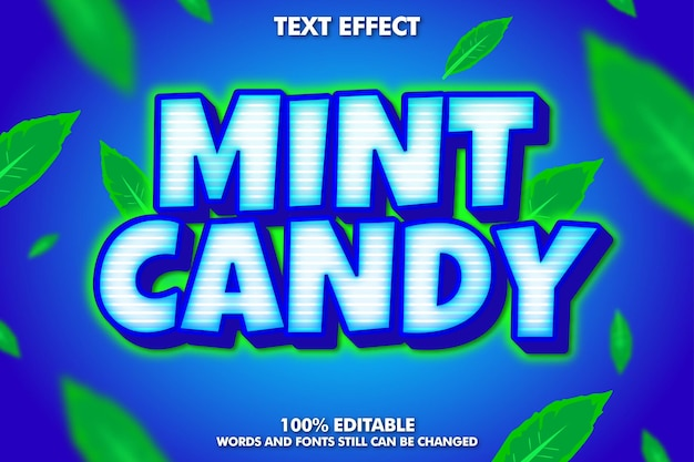 Mint candy sticker text effect bold and shiny cartoon text Premium Vector