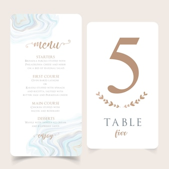 Mint editable menu template with table number card