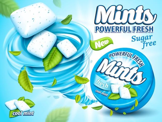Mint flavor gum ad with leaf and tornado element,  light blue background,  illustration